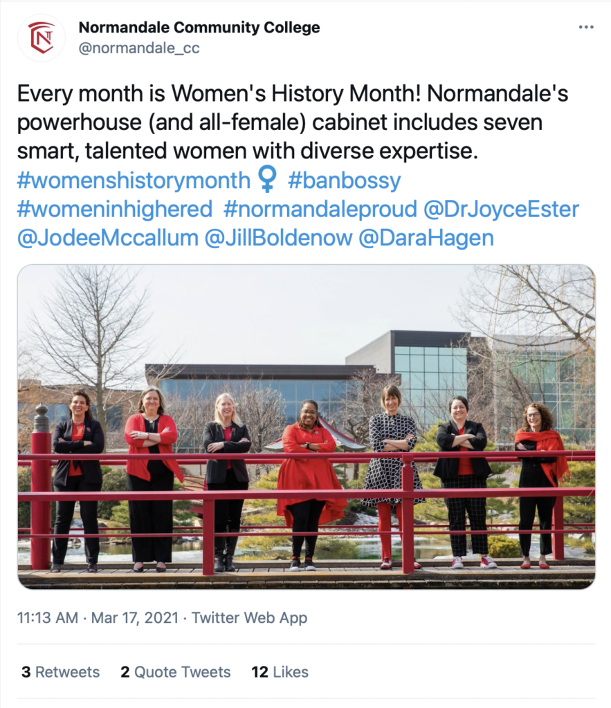 Normandale Community College @normandale_cc posts on Twitter for Women's History Month.  Every month is Women's History Month! Normandale's powerhouse and all-female cabinet includes seven smart, talented women with diverse expertise. #womenshistorymonth #banbossy #womeninhighered  #normandaleproud   @DrJoyceEster   @JodeeMccallum   @JillBoldenow   @DaraHagen