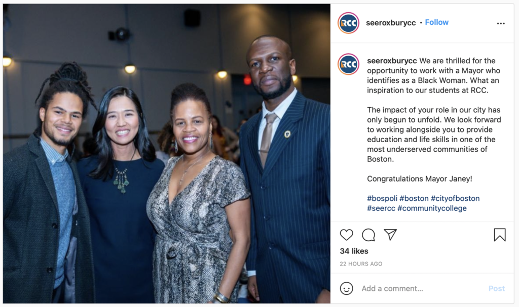 seeroxburycc posts on Instagram for Women's History Month.  We are thrilled for the opportunity to work with a Mayor who identifies as a Black Woman. What an inspiration to our students at RCC.  The impact of your role in our city has only begun to unfold. We look forward to working alongside you to provide education and life skills in one of the most underserved communities of Boston.   Congratulations Mayor Janey!  #bospoli #boston #cityofboston #seercc #communitycollege