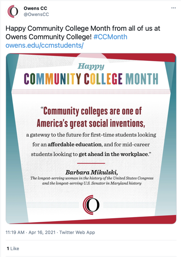 """Happy Community College Month from all of us at Owens Community College!  """"Community colleges are one of America's great social inventions, a gateway to the future for first end time students looking for an affordable education, and for mid career students looking to get ahead in the workplace."""" Quote from Barbara Mikulski. She's the longest-serving woman in the history of the US Congress. Plus, she's also the longest-serving Senator in Maryland's history."""